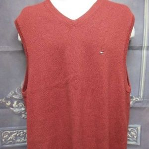 Tommy Hilfiger Sweater Vest Mens XL Red Grey Warm